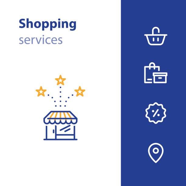 앞 아이콘, 장바구니, 주문 가방, 판매 태그 기호 저장 - 시장 소매점 stock illustrations