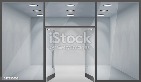 Store front open doors shop 3d empty interior realistic windows space template mockup background vector illustration