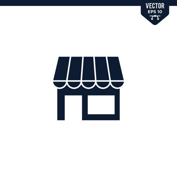 商店前或商店圖示集合,字形樣式 - small business 幅插畫檔、美工圖案、卡通及圖標