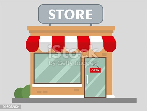 istock Store front view flat design 916052604