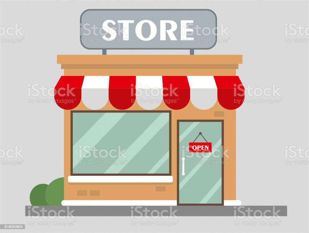 Store front view flat design vector art illustration