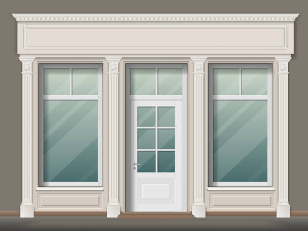 Store front with columns Store or boutique front with big window and column. Shop facade, vector realistic detailed illustration. facade stock illustrations