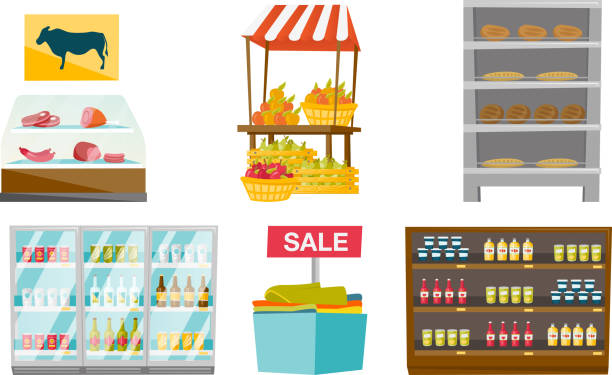 möbelset vektor cartoon illustrationen zu speichern - küchensystem stock-grafiken, -clipart, -cartoons und -symbole