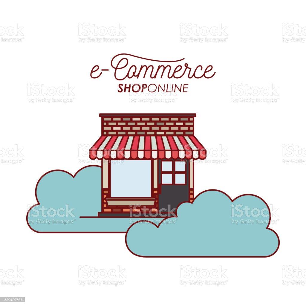 Lagerhaus In Den Wolken Ecommerce Onlineshop Auf Weißem Hintergrund