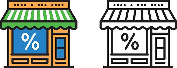 illustrations, cliparts, dessins animés et icônes de icône de magasin - vitrine magasin
