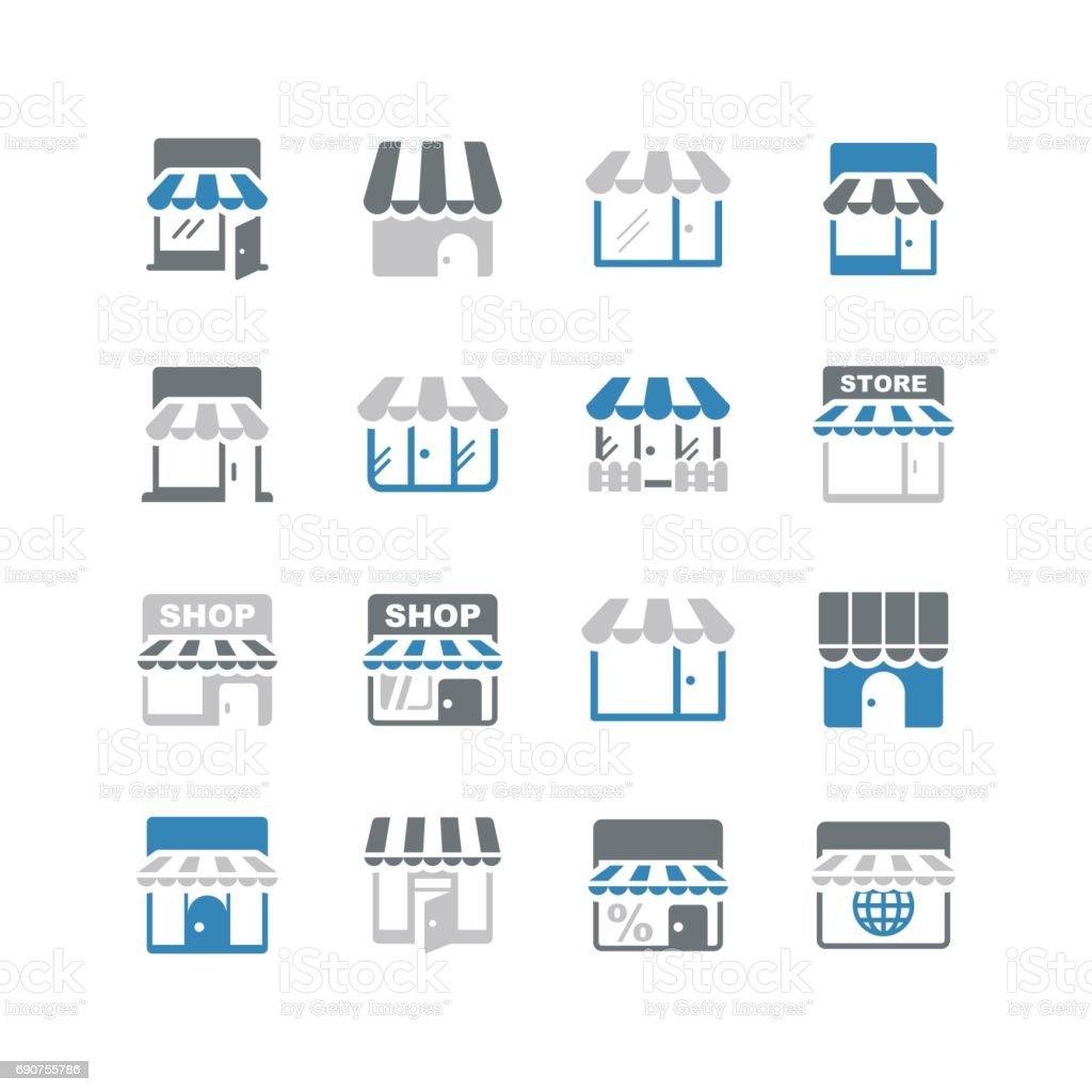 Store icons vector art illustration