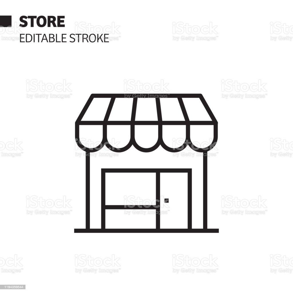 Store Line Icon, Outline Vector Symbol Illustration. Pixel Perfect, Editable Stroke. - Royalty-free Boutique arte vetorial