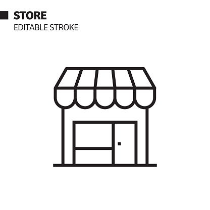 Store Line Icon, Outline Vector Symbol Illustration. Pixel Perfect, Editable Stroke.