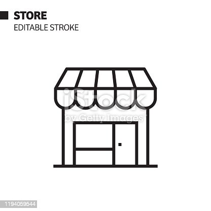 Store Line Icon, Outline Vector Symbol Illustration. Pixel Perfect, Editable Stroke.
