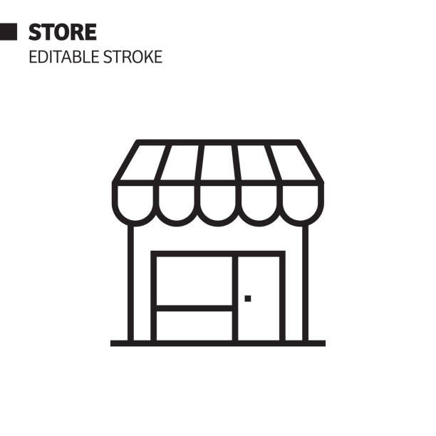 store line icon, outline vector symbol illustration. pixel perfect, editable stroke. - small business stock illustrations