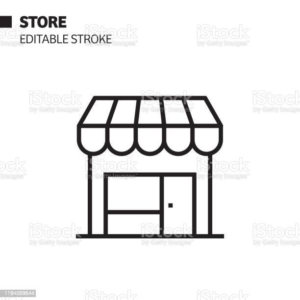 Store Line Icon Outline Vector Symbol Illustration Pixel Perfect Editable Stroke - Arte vetorial de stock e mais imagens de Boutique