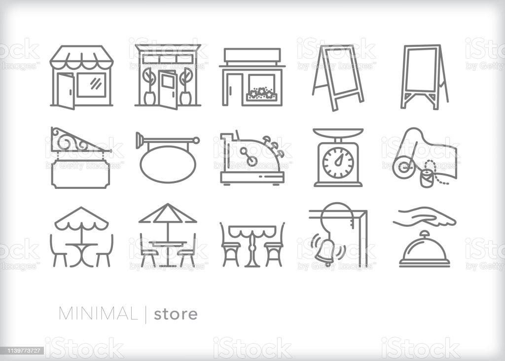 Store line icons for main street shops and businesses - Royalty-free Atividade Comercial arte vetorial