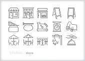 Set of 15 store line icons of main street shops and small businesses, including cash registers, cafe seating, store fronts, advertising signs and service bell