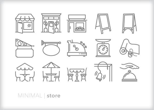 ladenzeilensymbole für die wichtigsten straßenläden und geschäfte - restaurant stock-grafiken, -clipart, -cartoons und -symbole