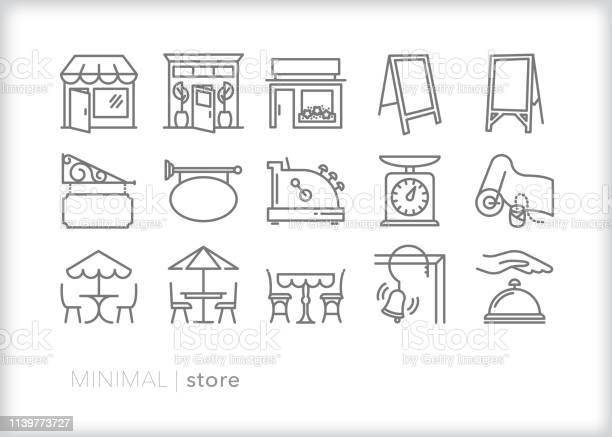 Store Line Icons For Main Street Shops And Businesses - Arte vetorial de stock e mais imagens de Atividade Comercial