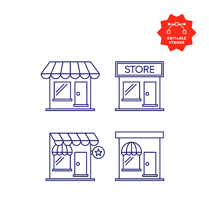 Store Line Icons with Editable Stroke and Pixel Perfect.