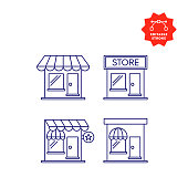 Retail Shop Line Icons with Editable Stroke and Pixel Perfect.