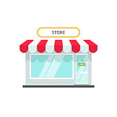 Store or shop facade vector illustration, flat cartoon design small retail shop building front view with open text isolated on white background