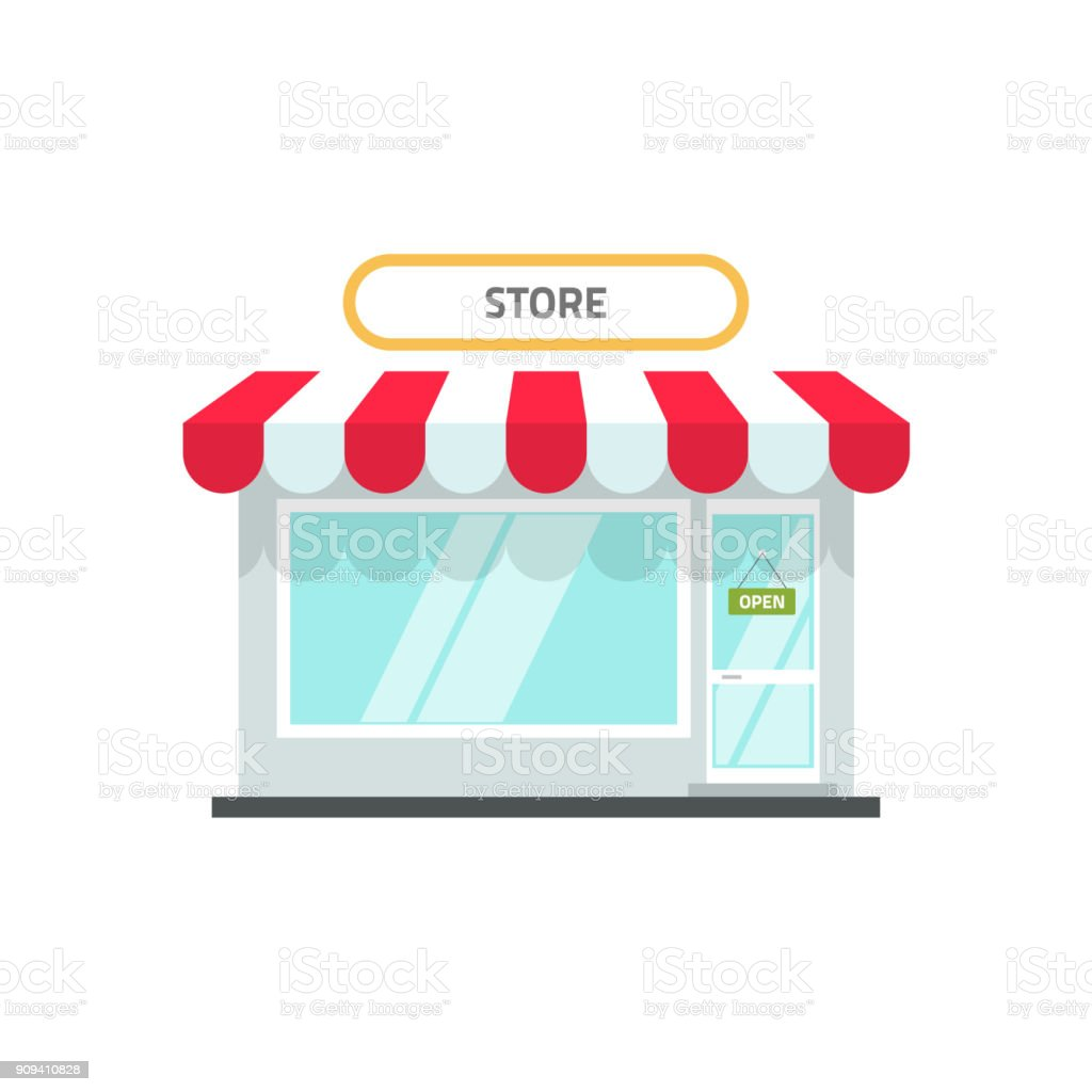 Store or shop facade vector illustration, flat cartoon design small retail shop building front view with open text isolated on white background vector art illustration