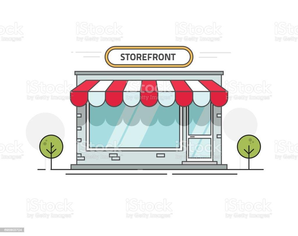 magasin ou boutique illustration vectorielle fa ade dessin anim ligne contour vitrine sur la. Black Bedroom Furniture Sets. Home Design Ideas