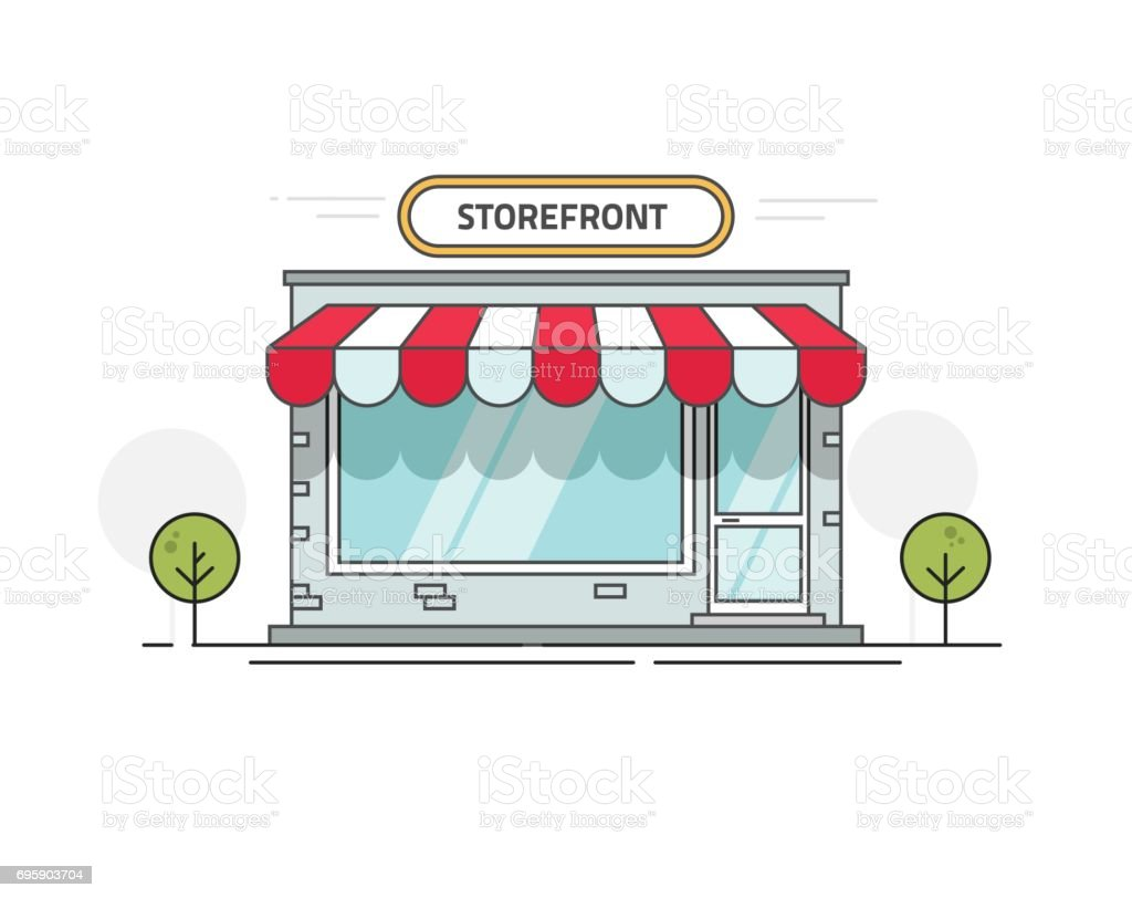 Store or shop front view vector illustration, cartoon line outline storefront on street isolated vector art illustration