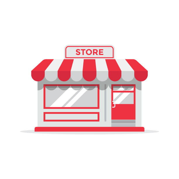 store or shop icon flat design. - store stock illustrations