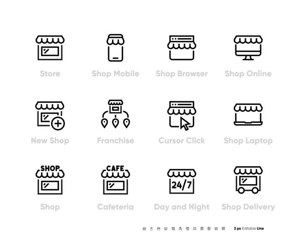 Store or Shop icon set. Franchise Business and Online Shopping Interaction, Click, Buy, Delivery. Vector Editable Line Shop icon. vector art illustration