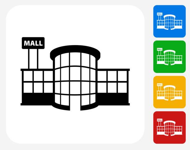 ilustrações, clipart, desenhos animados e ícones de loja plaza plana ícone de design gráfico - shopping