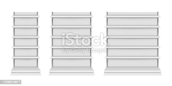 Store shelves and product display showcase, vector isolated realistic mockups. Supermarket and store display stands and racks with empty shelves and perforated background, 3D isolated models