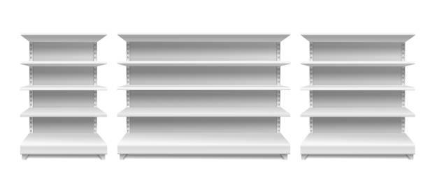regale lagern. weiße supermarktfach-regal display-shop regale leer nahtlose regale leere schaufenster isolierten vektor - kastenständer stock-grafiken, -clipart, -cartoons und -symbole