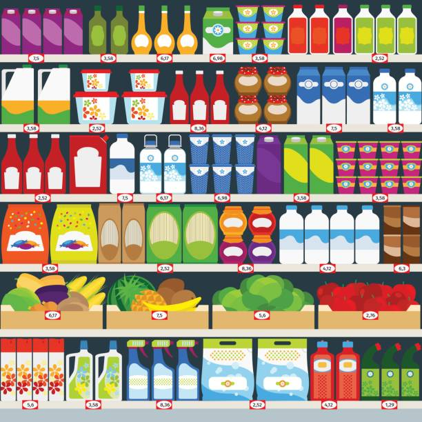 Store shelves with groceries background Vertical vector background, store shelves full of groceries. Vector illustration grocery aisle stock illustrations