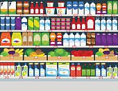 Horizontal vector background, store shelves with groceries products