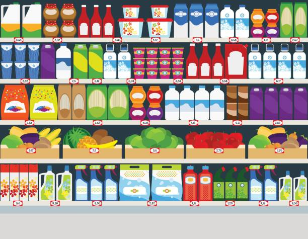 Store shelves with products background Horizontal vector background, store shelves with groceries products grocery aisle stock illustrations