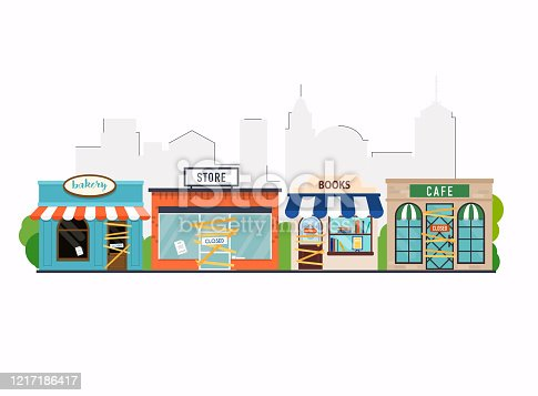 istock Store shop, cafe, book shop, bakery is closed/bankrupt. Flat design modern vector business concept. 1217186417