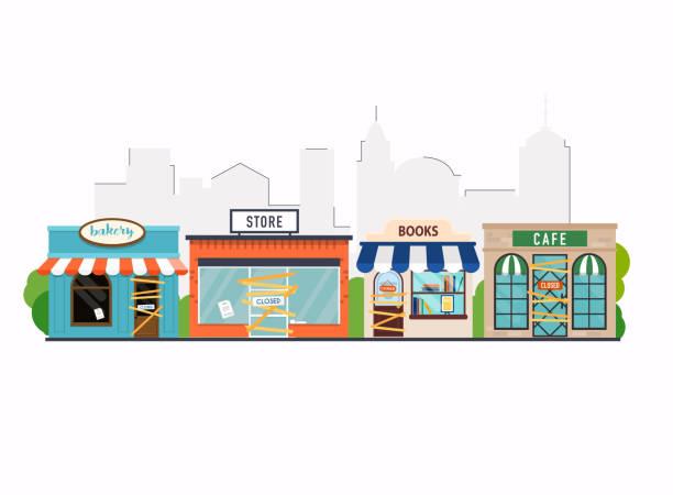 Store shop, cafe, book shop, bakery is closed/bankrupt. Flat design modern vector business concept. Store shop, cafe, book shop, bakery is closed/bankrupt. Flat design modern vector business concept. closed sign stock illustrations