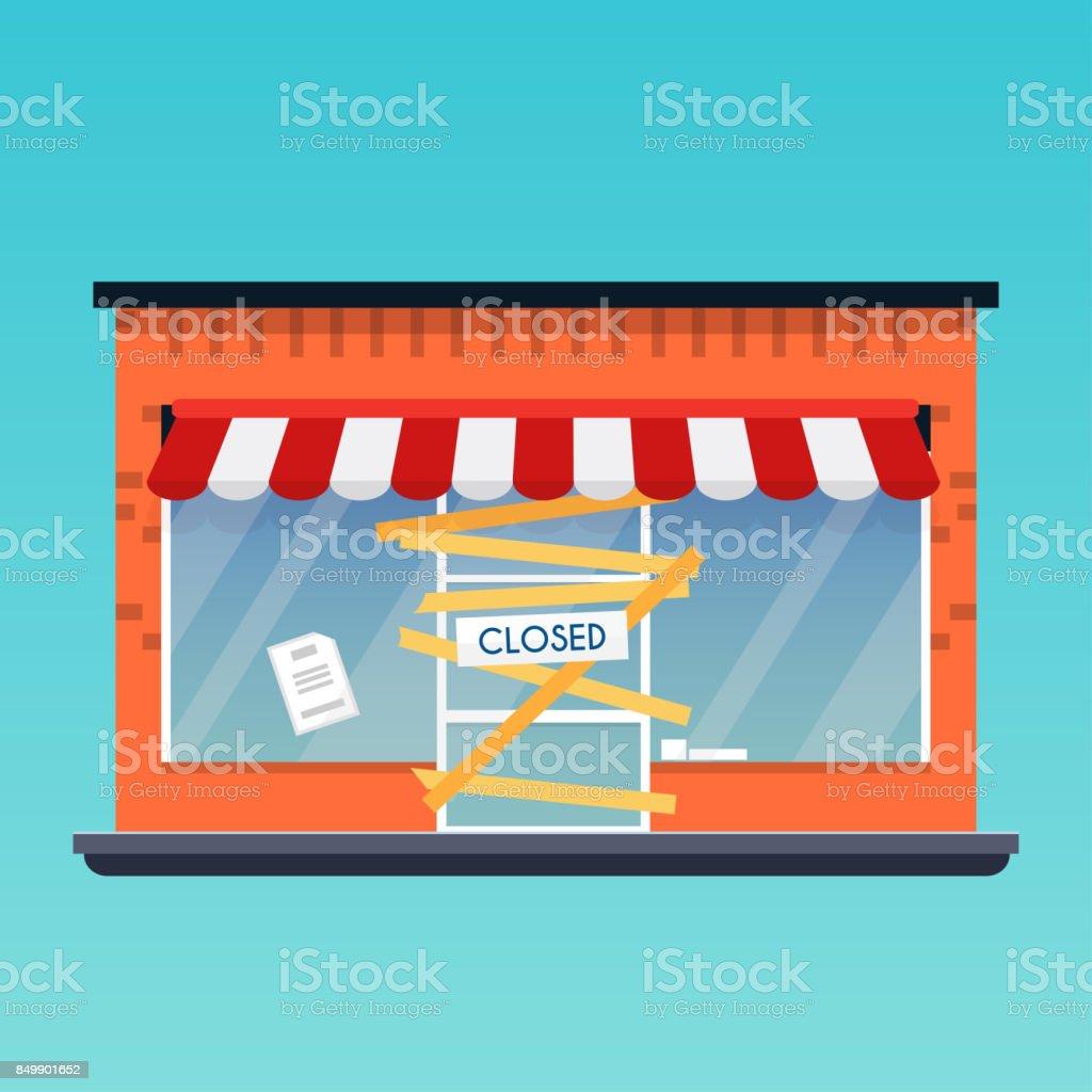 店が閉鎖/倒産しました。フラットなデザインのモダンなベクトル ビジネス コンセプト。 ベクターアートイラスト
