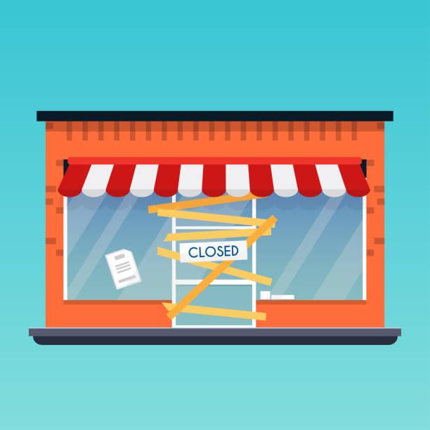 ilustraciones, imágenes clip art, dibujos animados e iconos de stock de almacén de la tienda está cerrada/quiebra. concepto de negocio de vector moderno diseño plano. - bancarrota