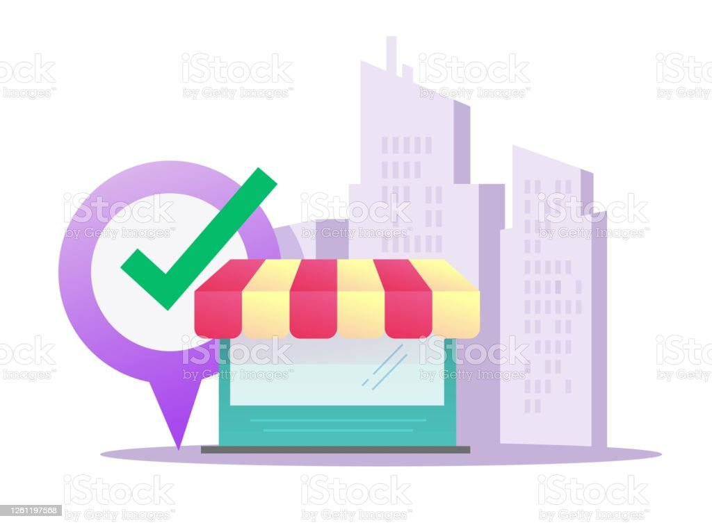 Store Shop Retail Vector Flat Cartoon Building Market Storefront Design Illustration On City And Location Pointer Position Idea Of Restaurant Or Cafe Boutique Front Window On Street View Stock Illustration Download