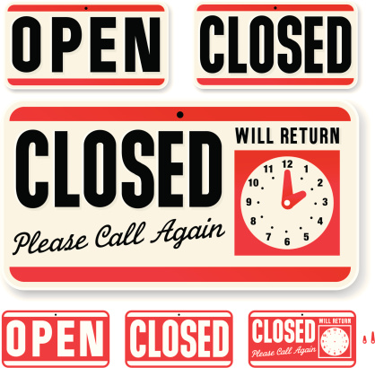 Store Sign: Open Closed Will Return