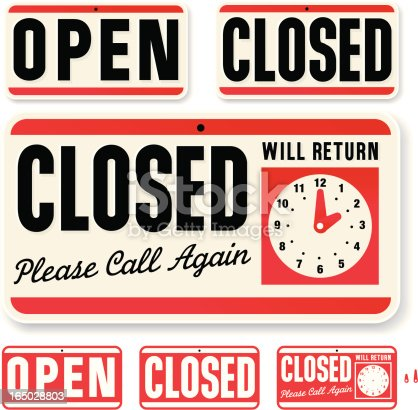 istock Store Sign: Open Closed Will Return 165028803