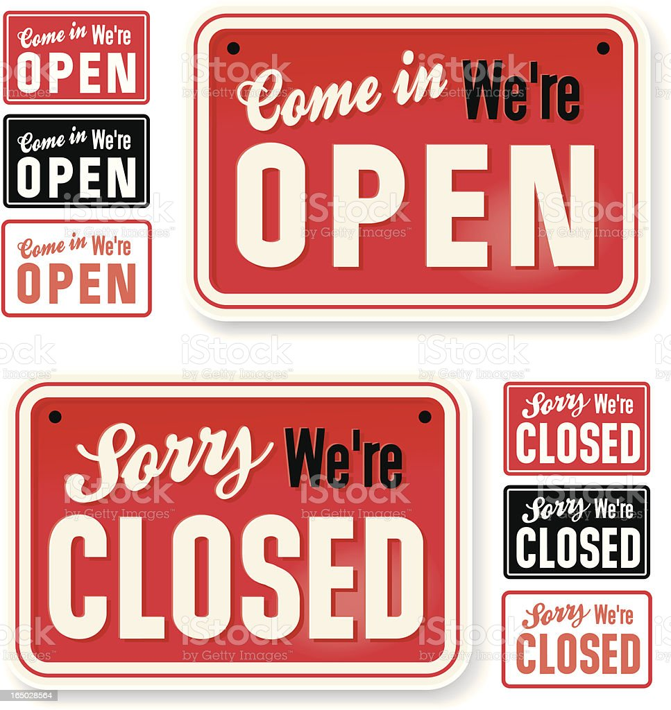 Store Signs: Come in we're Open vector art illustration