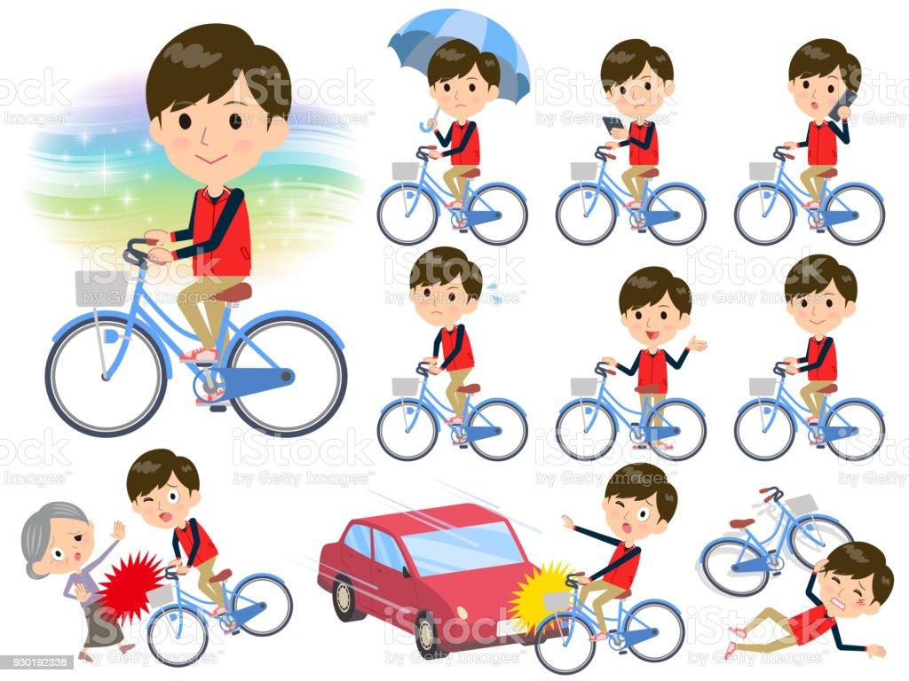 Store staff red uniform men_city bicycle vector art illustration