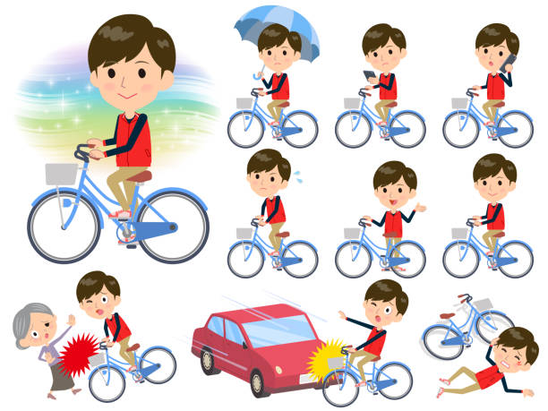 store staff red uniform men_city bicycle - old man on bike stock illustrations