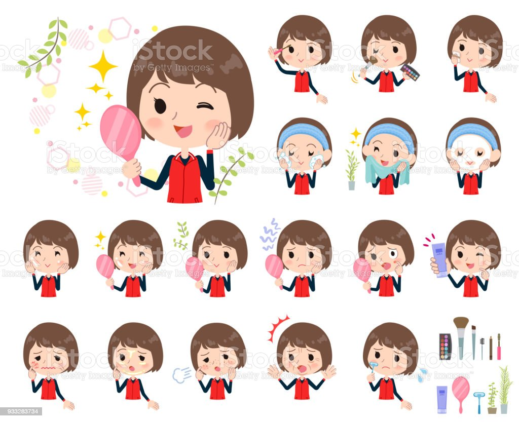 Store staff red uniform women_beauty vector art illustration