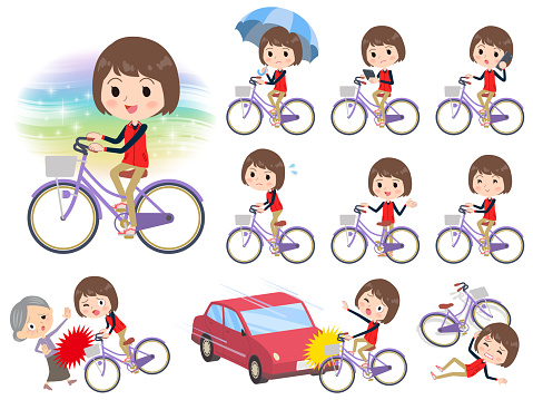 Store staff red uniform women_city bicycle