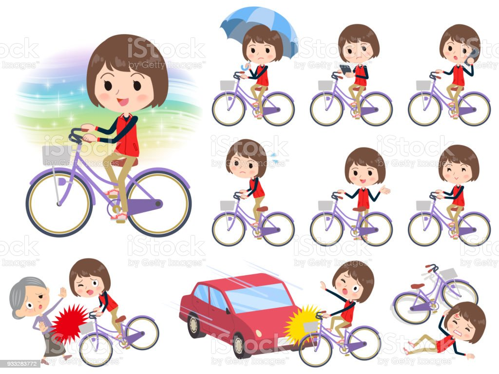 Store staff red uniform women_city bicycle vector art illustration
