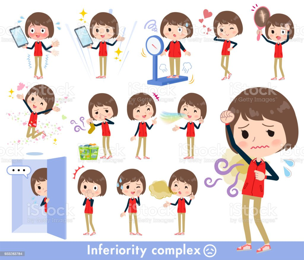 Store staff red uniform women_complex