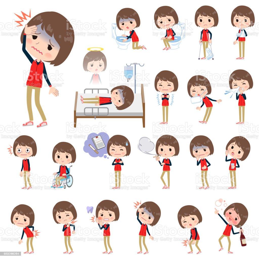 Store staff red uniform women_sickness vector art illustration