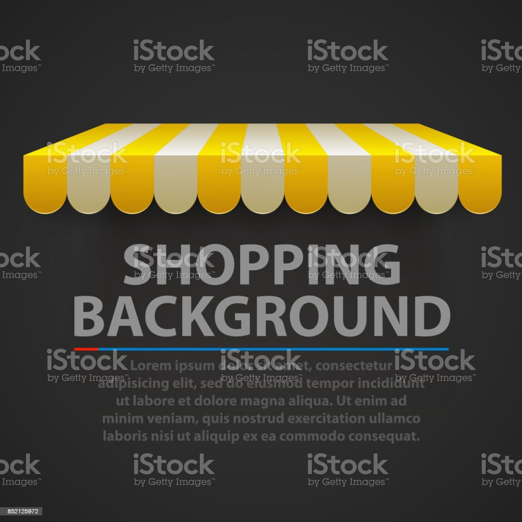 Store striped awning modern background. Vector vector art illustration