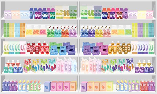 Store supermarket shelves shelfs with household chemicals. – Vektorgrafik